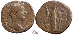 Ancient Coins - Marcus Aurelius Sestertius - Victory holding shield - VIC PAR - RIC 931