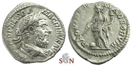 Ancient Coins - Macrinus Denarius - PROVIDENTIA DEORVM - RIC 80