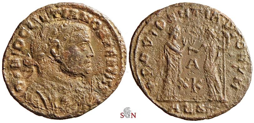 Ancient Coins - Diocletianus Follis - D N DIOCLETIANO BAEATISS - ex Grohs-Fligely collection 1875-1962