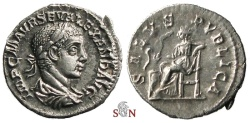 Ancient Coins - Severus Alexander Denarius - SALVS PVBLICA - RIC 178