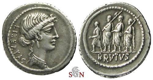 Ancient Coins - M. Junius Brutus Denarius - Consul with Lectors and Accensus adv. left - Cr. 433/1