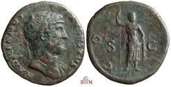 Ancient Coins - Hadrian AE As - COS III - Janus - RIC 662
