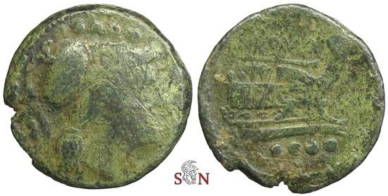Ancient Coins - AE Triens - Prow right - Head of Minerva