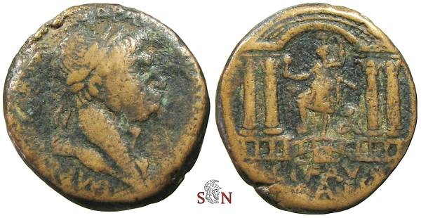 Ancient Coins - Trajan AE 30 mm - Judaea, Caesarea Maritima - Temple of Tyche
