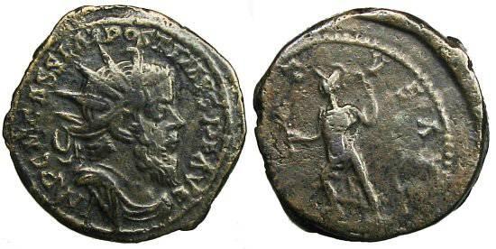 Ancient Coins - Postumus Double Sestertius - Mars advancing left - Bastien 288