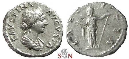 Ancient Coins - Faustina II Denarius - Laetitia standing left - RIC 702
