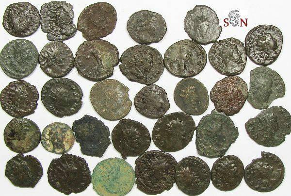 Ancient Coins - Lot of 30 lower grade Antoniniani - Postumus, Tetricus, Gallienus, Claudius II etc.