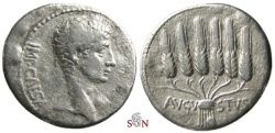 Ancient Coins - Augustus Cistophoric tetradrachm - Pergamum mint - bunch of corn ears - RPC 2212