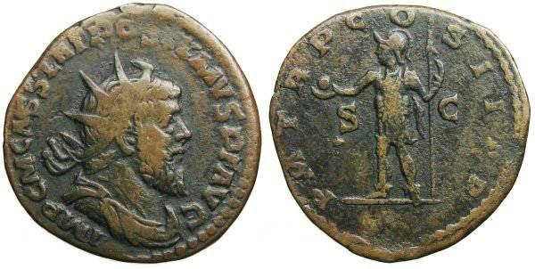 Ancient Coins - Postumus Double Sestertius - Emperor standing left - Bastien 63 b