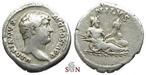 Ancient Coins - Hadrianus Denarius - NILVS - RIC 310