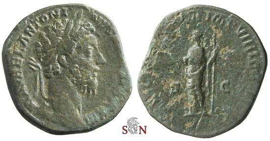 Ancient Coins - Marcus Aurelius Sestertius - Felicitas standing left - RIC 1227