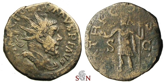 Ancient Coins - Postumus reduced Double Sestertius - Very rare with short Obv. legend - 1 specimen known to Bastien