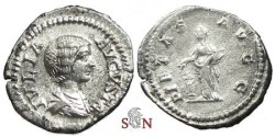Ancient Coins - Julia Domna denarius - PIETAS AVGG - RIC 170