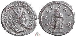 Ancient Coins - Postumus Antoninianus - SALVS AVG - without globe at feet - Elmer 415