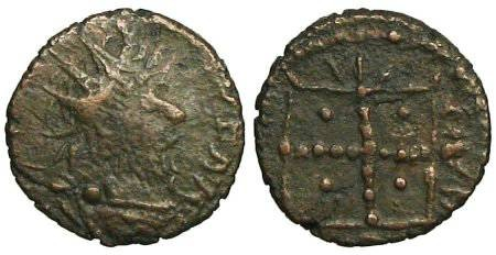 Ancient Coins - Tetricus I local imitation - stylized altar - barbarous radiate