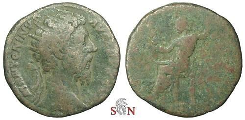Ancient Coins - Marcus Aurelius Dupondius - Jupiter seated left