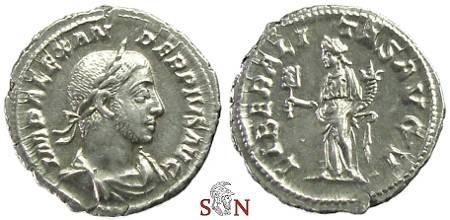 Ancient Coins - Severus Alexander Denarius - Liberalitas standing left - RIC 243