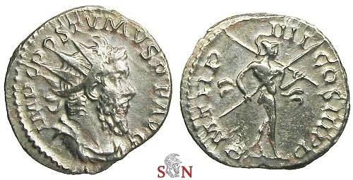 Ancient Coins - Postumus Antoninianus - Mars walking right, holding sceptre instead of trophy - very rare - Cunetio 2407