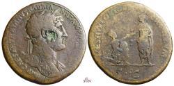 Ancient Coins - Hadrianus Sestertius - RESTITVTORI ORBIS TERRARVM - RIC 594b