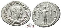 Ancient Coins - Maximinus I Thrax denarius - Maximinus standing left - RIC 1
