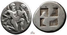 Ancient Coins - Thasos AR Stater - Satyr carrying off protesting nymph - Le Rider 6