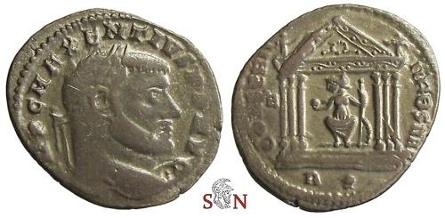 Ancient Coins - Maxentius Follis - CONSERV VRB SVAE - RIC 202a