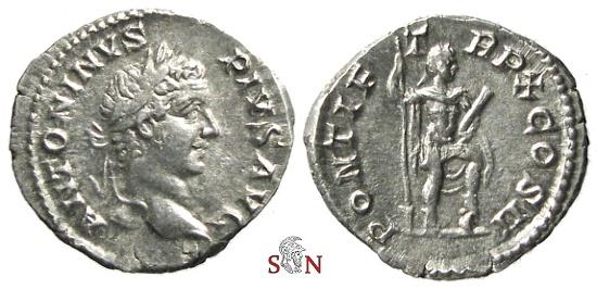 Ancient Coins - Caracalla denarius - Emperor stg. right - RIC 95