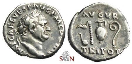 Ancient Coins - Vespasianus Denarius - AVGV TRI POT - RIC 356