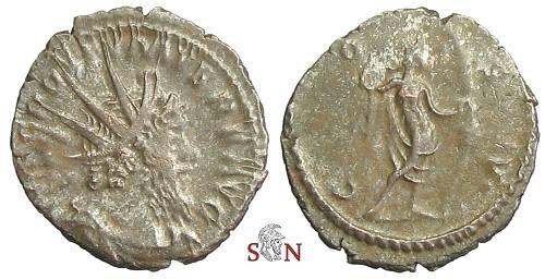 Ancient Coins - Postumus Antoninianus - COS V - Nemesis standing right - Elmer 591