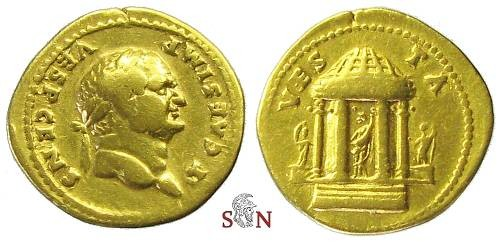 Ancient Coins - Titus as Caesar Gold Aureus - Temple of Vesta - RIC 171b
