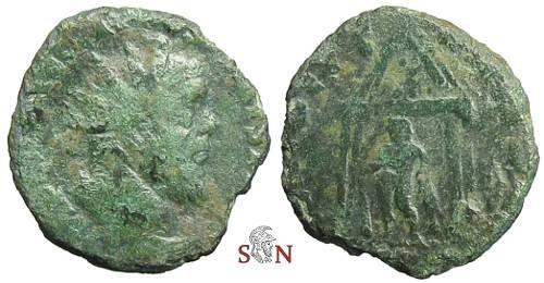 Ancient Coins - Postumus reduced double Sestertius - Hercules in Temple - Bastien 231