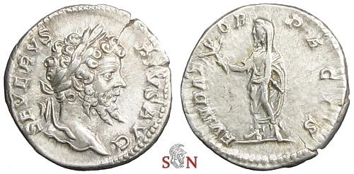 Ancient Coins - Septimius Severus Denarius - FVNDATOR PACIS - RIC 265