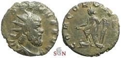 Ancient Coins - Postumus Antoninianus, struck under Aureolus - CONCORD AEQVIT - Elmer 604 - very rare