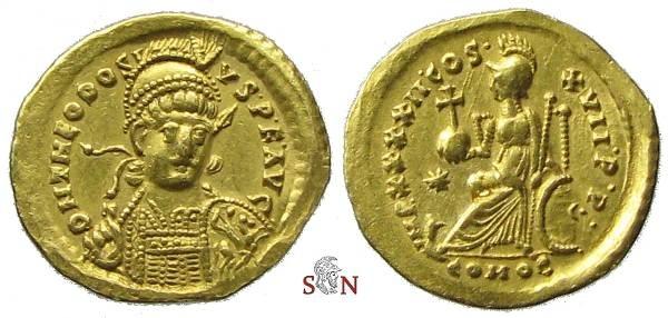 Ancient Coins - Theodosius II Soldius - Constantinopolis seated left - RIC 301