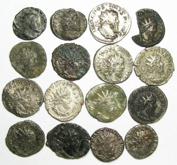 Ancient Coins - Lot of 16 Postumus Antoniniani - various Reverse Types - Cologne, Milan and Local mints