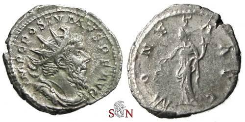 Ancient Coins - Postumus Antoninianus - MONETA AVG - Elmer 336 - overweight flan, 5,75 g (!)