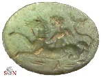 Ancient Coins - Intaglio on chromian Calcedony - Eros on hippocampus riding left