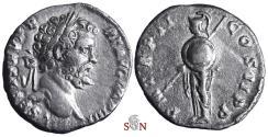 Ancient Coins - Septimius Severus Denarius - Minerva stg. left - RIC 49 - scarce