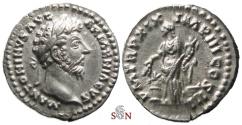 Ancient Coins - Marcus Aurelius Denarius - Annona standing left - RIC 142