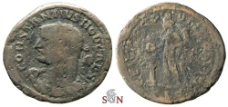 Ancient Coins - Constantius I. as Caesar Follis - rare bust with club on shoulder - Lugdunum mint - RIC 147
