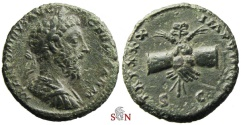 Ancient Coins - Marcus Aurelius AE As - clasped hands holding caduceus - RIC 1177 - RARE