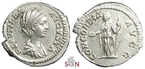 Ancient Coins - Plautilla Denarius - Concordia standing left - RIC 363