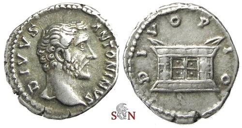 Ancient Coins - Divus Antoninus Pius Denarius - square altar - RIC 441