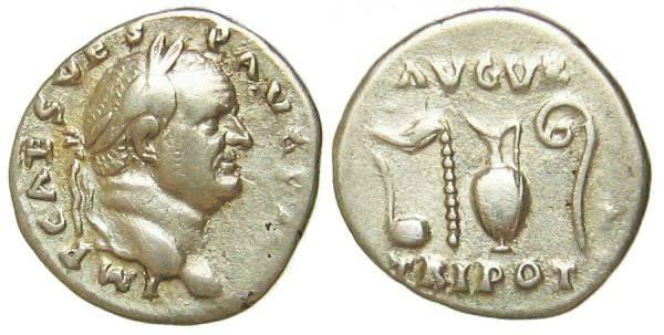 Ancient Coins - Vespasianus Denarius - AVGVR TRIPOT - RIC 42