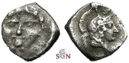 Ancient Coins - Pisidia, Selge Obol - Gorgoneion - Head of Athena
