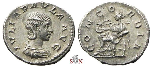 Ancient Coins - Julia Paula AR Denarius - CONCORDIA seated left - RIC 211 - excellent portrait