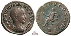 Ancient Coins - Gordianus III Sestertius - Apollo seated left - RIC 303a