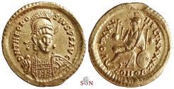 Ancient Coins - Theodosius II Gold Solidus - Constantinopolis seated left - RIC 257