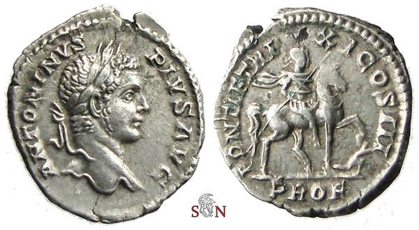 Ancient Coins - Caracalla Denarius - emperor on horseback - RIC 108