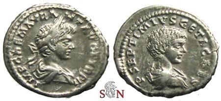 Ancient Coins - Caracalla Denarius - Very Rae with bust of Geta - RIC -